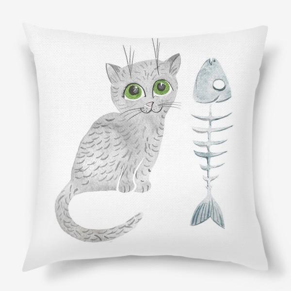 Подушка «Милый серый котенок»