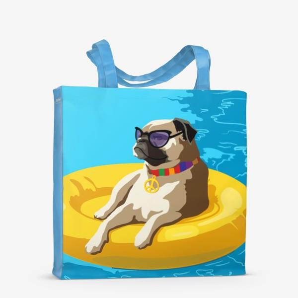 Сумка-шоппер «Мопс в бассейне»