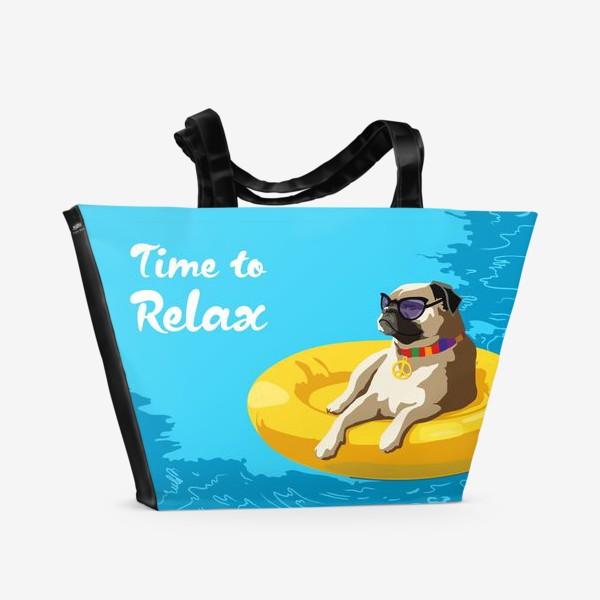Пляжная сумка «Мопс в бассейне»