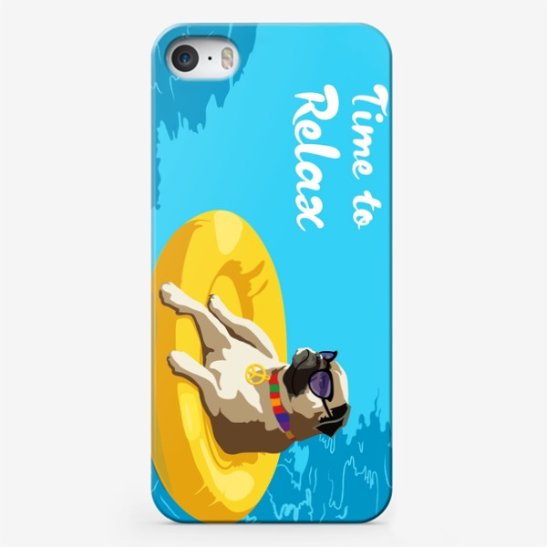 Чехол iPhone «Мопс в бассейне»