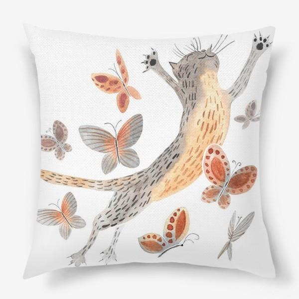 Подушка «Радостный кот с бабочками»