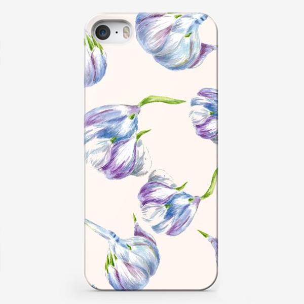 Чехол iPhone «Чеснок паттерн бесшовный акварель»