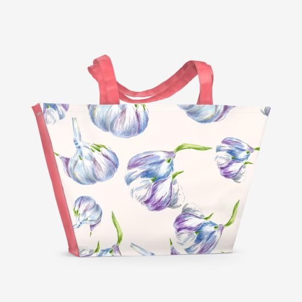 Пляжная сумка «Чеснок паттерн бесшовный акварель»
