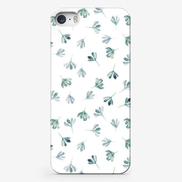 Чехол iPhone «Паттерн с голубыми цветами»
