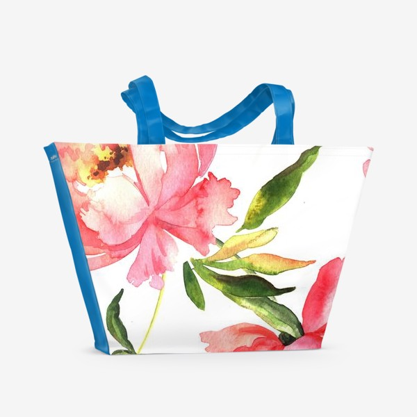 Пляжная сумка «Нежный паттерн с пионами»