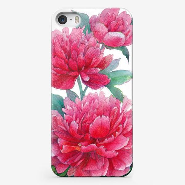 Чехол iPhone «Красные пионы. Акварель.»
