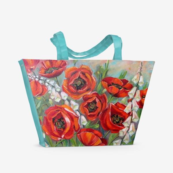 Пляжная сумка «Красные маки»