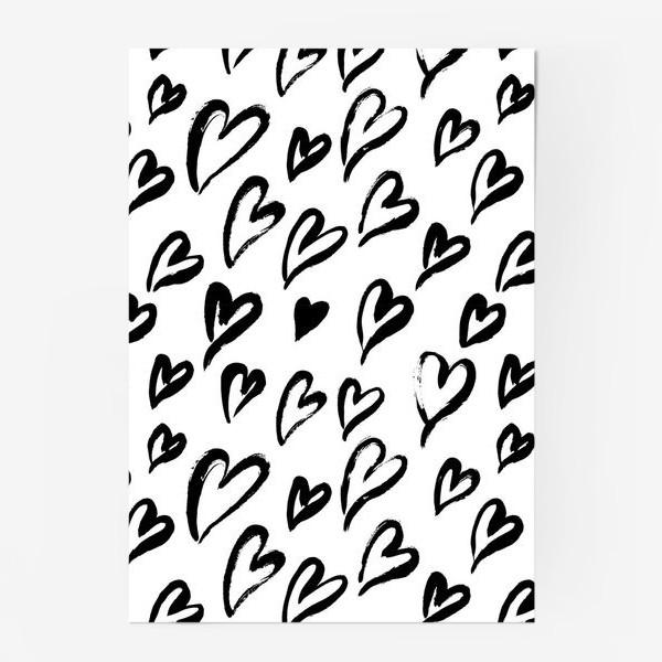 Постер «Черные сердечки. Бесшовный паттерн»