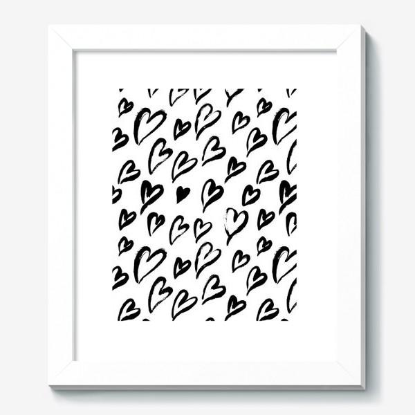 Картина «Черные сердечки. Бесшовный паттерн»