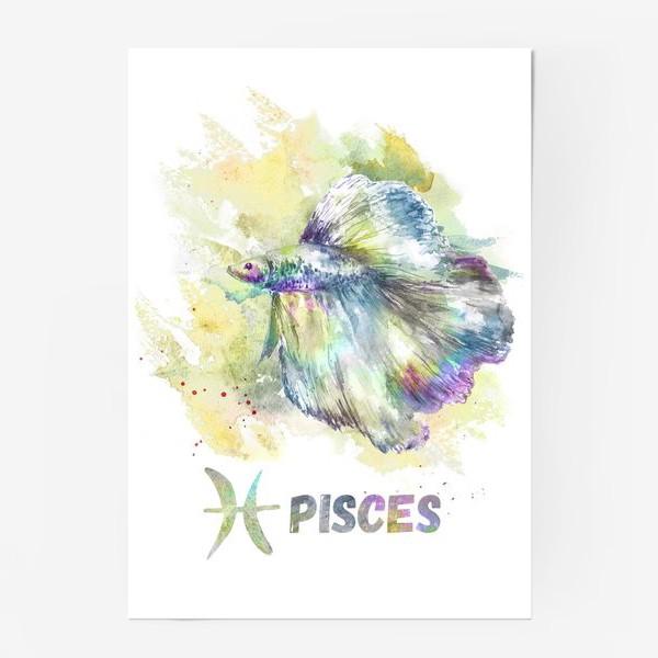 Постер «PISCES. РЫБЫ. Рыбка Петушок»