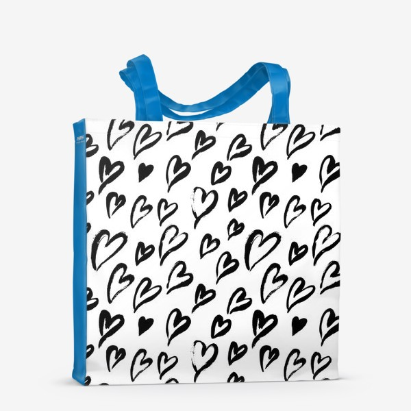 Сумка-шоппер «Черные сердечки. Бесшовный паттерн»