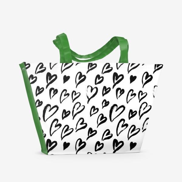Пляжная сумка «Черные сердечки. Бесшовный паттерн»