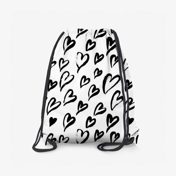 Рюкзак «Черные сердечки. Бесшовный паттерн»
