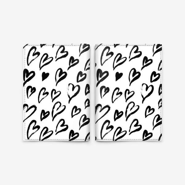 Обложка для паспорта «Черные сердечки. Бесшовный паттерн»