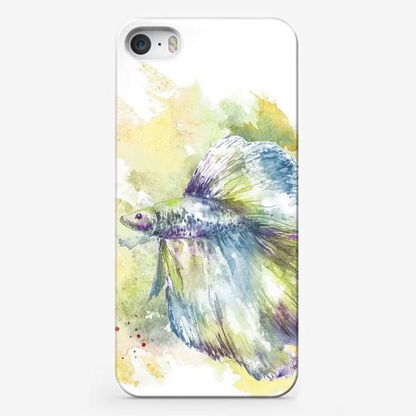 Чехол iPhone «Рыбка петушок. Акварель. ( Рыбы умеют хранить тайны )»