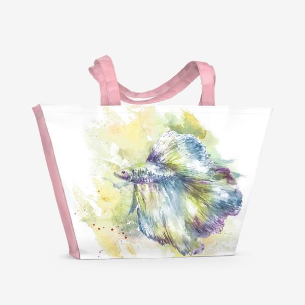 Пляжная сумка «Рыбка петушок. Акварель. ( Рыбы умеют хранить тайны )»