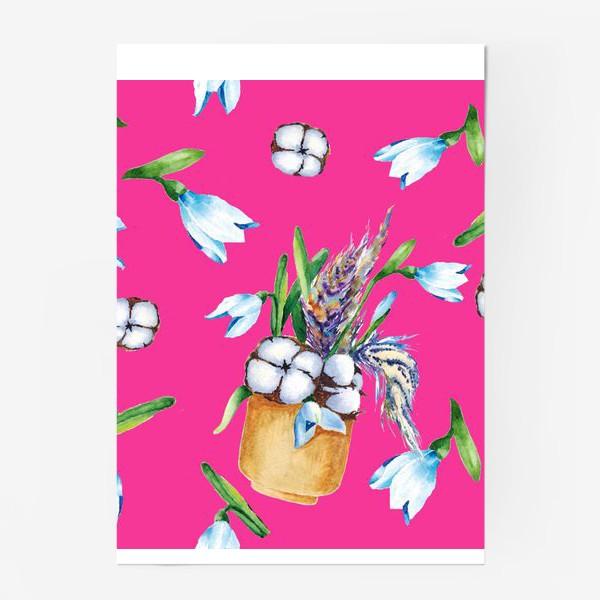 Постер «Подснежники, хлопок и перышки на розовом фоне паттерн»