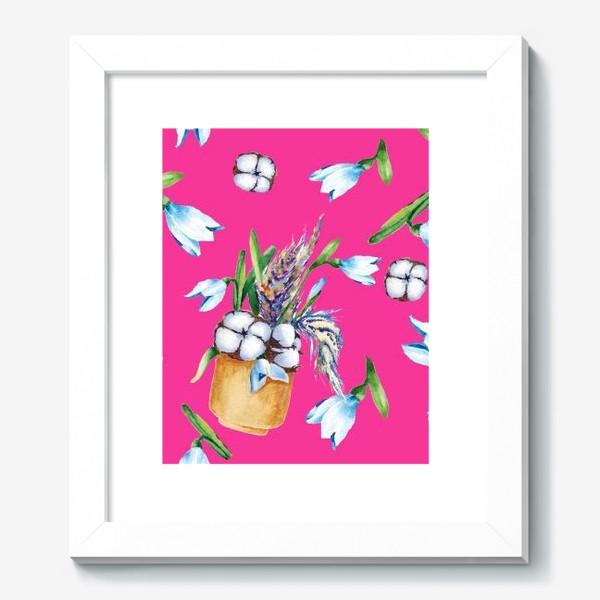Картина «Подснежники, хлопок и перышки на розовом фоне паттерн»