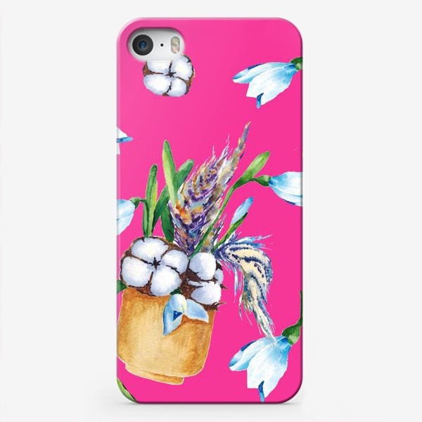 Чехол iPhone «Подснежники, хлопок и перышки на розовом фоне паттерн»