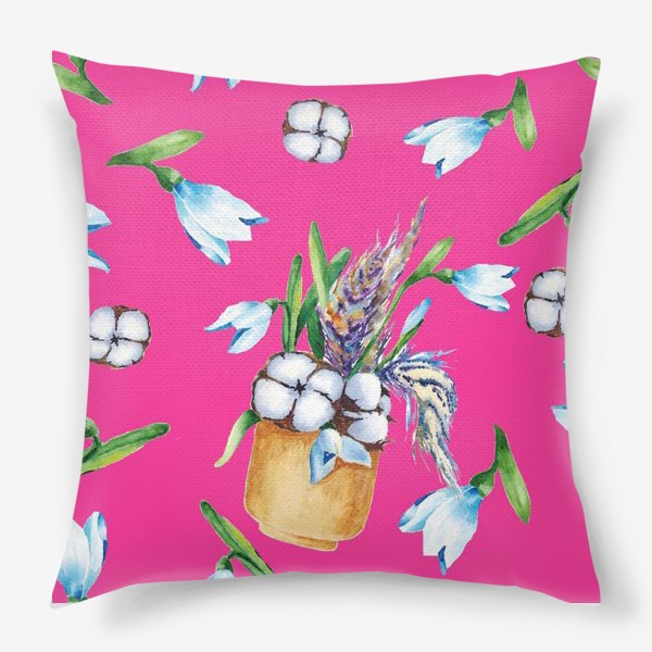 Подушка «Подснежники, хлопок и перышки на розовом фоне паттерн»