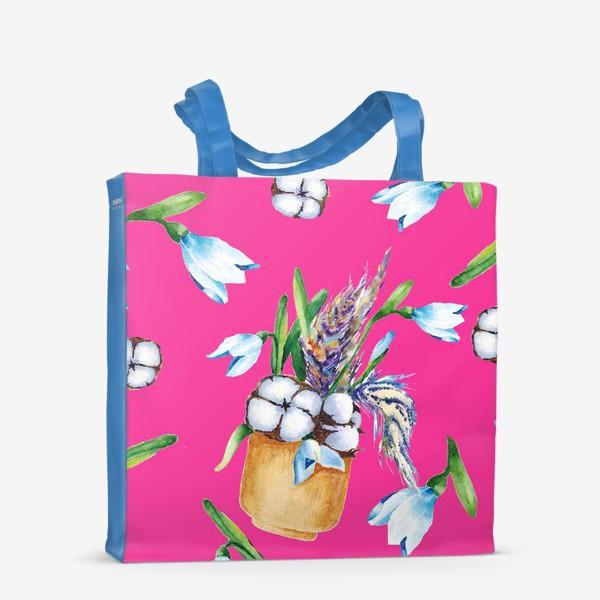 Сумка-шоппер «Подснежники, хлопок и перышки на розовом фоне паттерн»