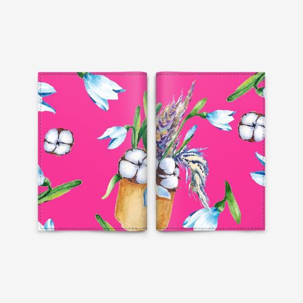 Обложка для паспорта «Подснежники, хлопок и перышки на розовом фоне паттерн»