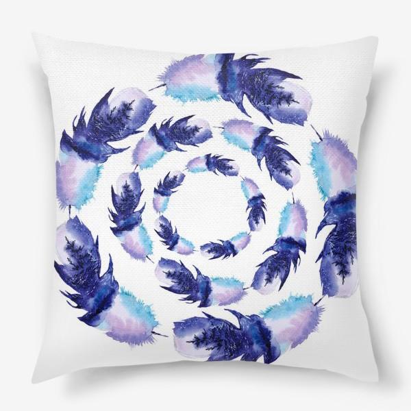 Подушка «Перья зимние круги»