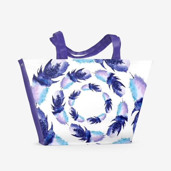 Пляжная сумка «Перья зимние круги»
