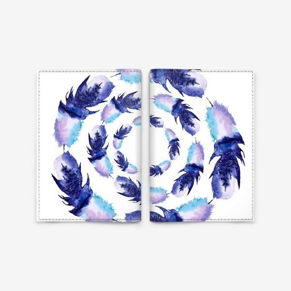 Обложка для паспорта «Перья зимние круги»