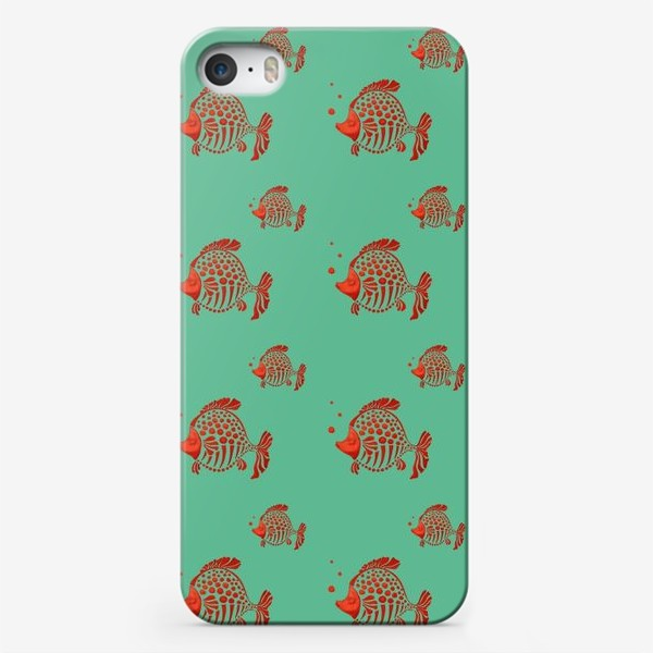 """Чехол iPhone «Принт """" Красные рыбки на бирюзовом фоне""""»"""
