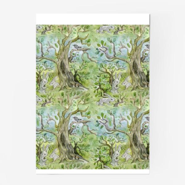 Постер «Лес. Зайцы в лесу»