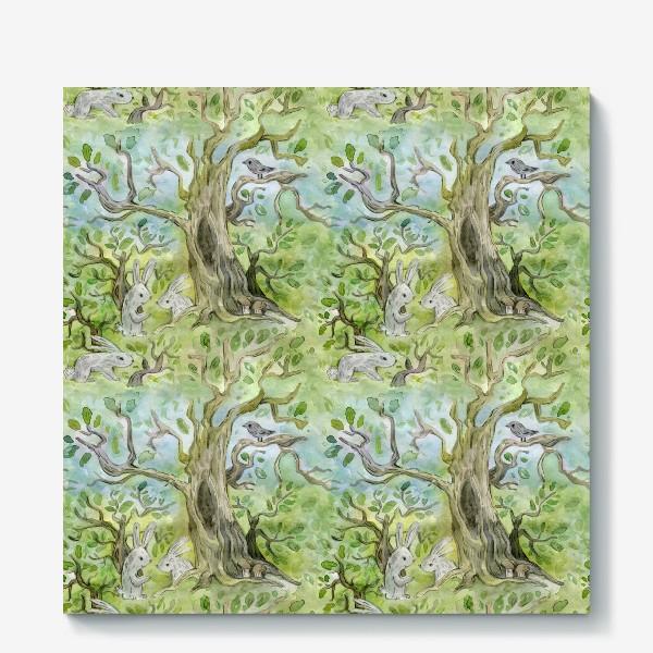Холст «Лес. Зайцы в лесу»