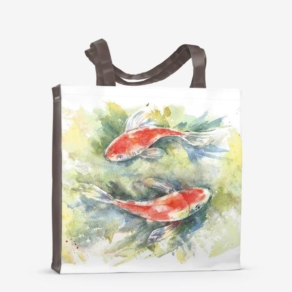 Сумка-шоппер «Золотые рыбки. Акварель»