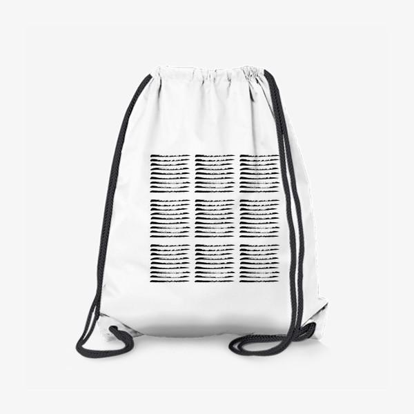 Рюкзак «Черные полоски сухой кистью, квадратный узор»
