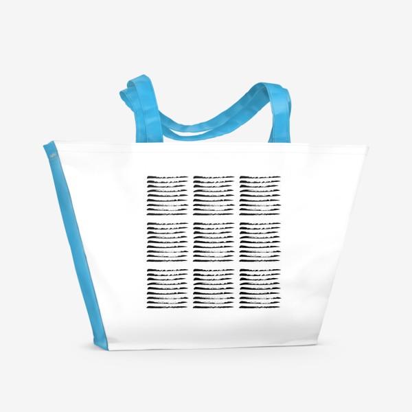 Пляжная сумка «Черные полоски сухой кистью, квадратный узор»