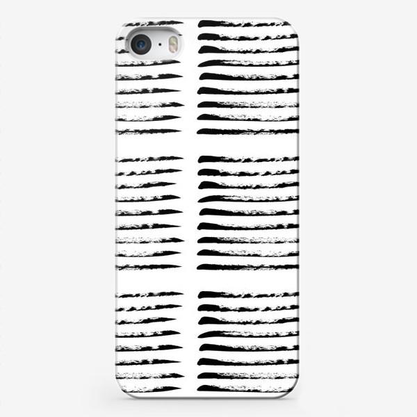 Чехол iPhone «Черные полоски сухой кистью, квадратный узор»