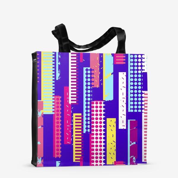 Сумка-шоппер «Абстрактный яркий паттерн с полосами»