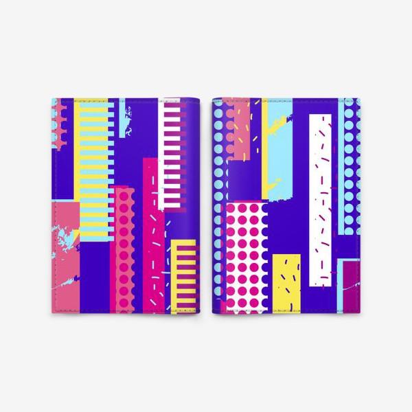 Обложка для паспорта «Абстрактный яркий паттерн с полосами»