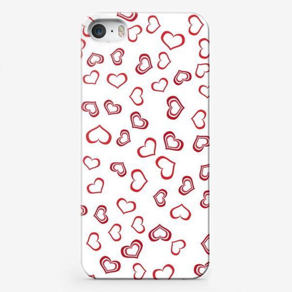 Чехол iPhone «Сердечки красные»