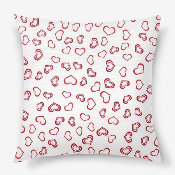 Подушка «Сердечки красные»