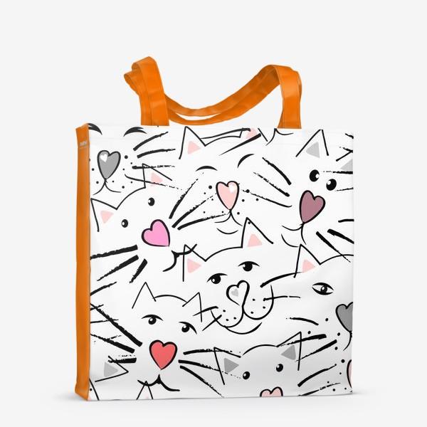 Сумка-шоппер «Усы и сердечные носы»