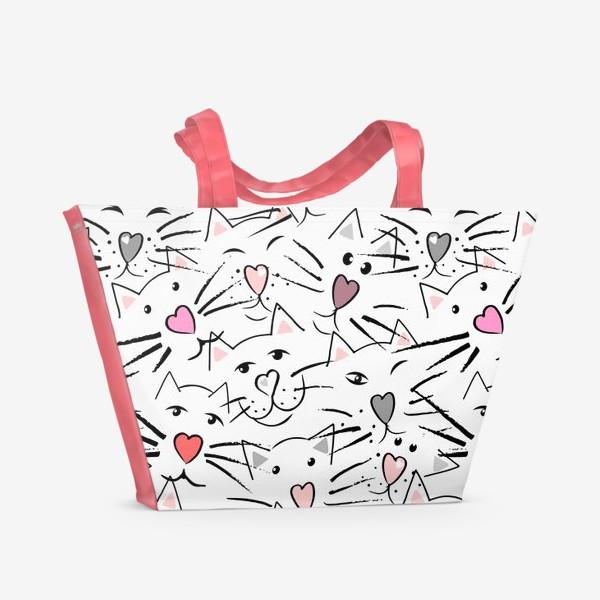 Пляжная сумка «Усы и сердечные носы»