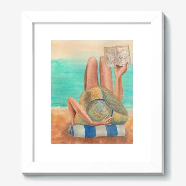 Картина «Девушка с книгой на пляже»