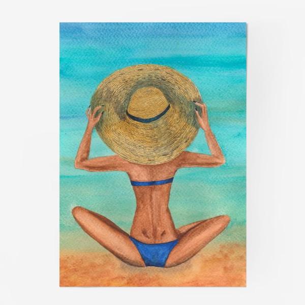 Постер «Девушка в шляпе на пляже»