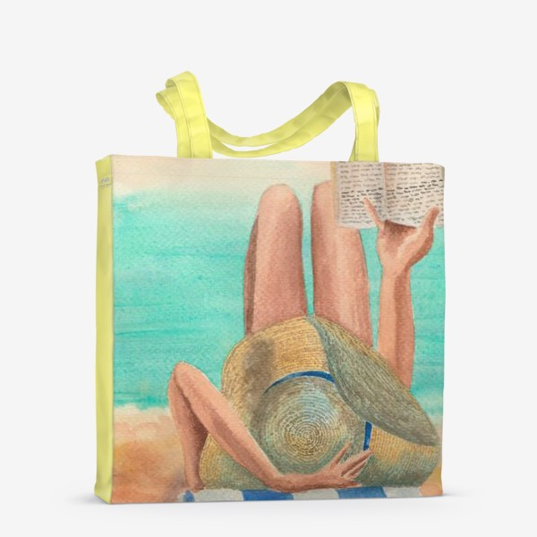 Сумка-шоппер «Девушка с книгой на пляже»