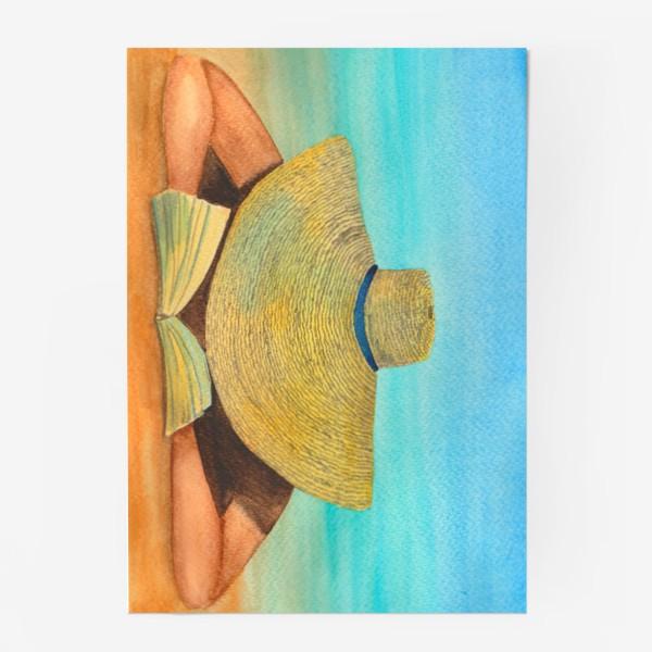 Постер «Девушка в шляпе на пляже с книгой»