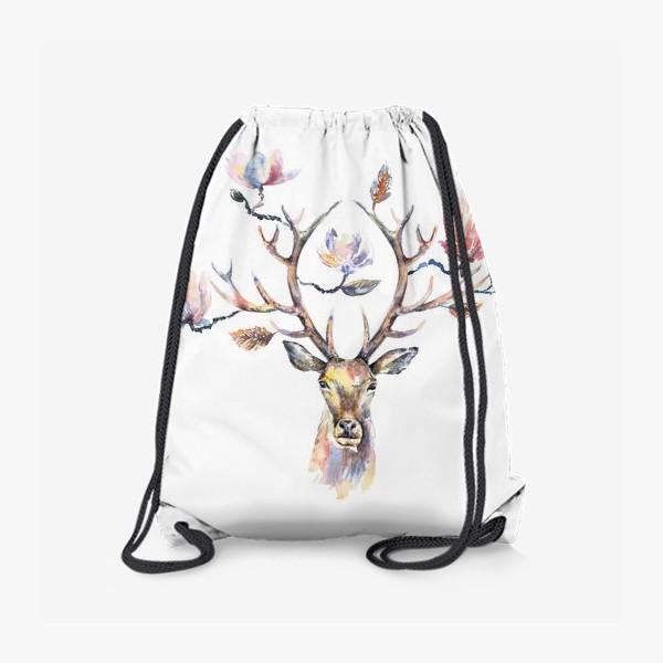 Рюкзак «Голова оленя с цветами в рогах. Акварель»