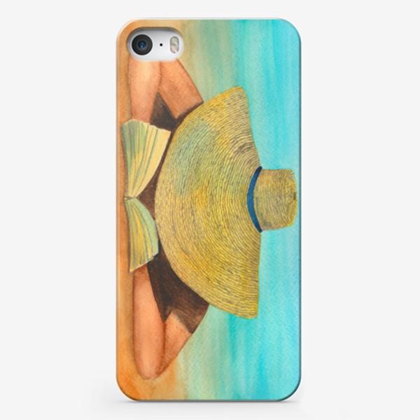 Чехол iPhone «Девушка в шляпе на пляже с книгой»