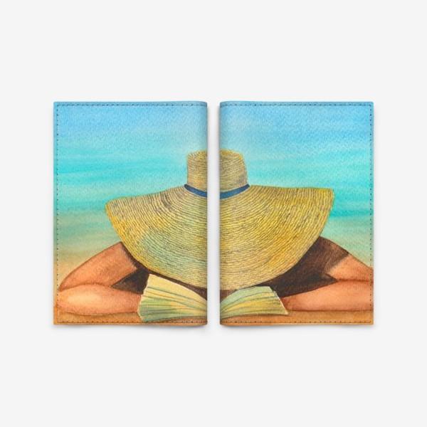 Обложка для паспорта «Девушка в шляпе на пляже с книгой»