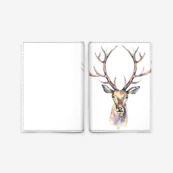 Обложка для паспорта «Голова оленя. Акварель»